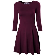 Tom's Ware Women's Casual Slim Fit and Flare Round Neckline Dress ($22) ❤ liked on Polyvore featuring dresses, purple dress, slim fitting dresses, slimming dresses, slim fit dress and round neck dress
