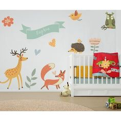 Dimensions (Height x Width): Set includes Deer: x Hedgehog: x Bird: x Fox: x Owl: x Ribon (for name): x + 2 Hearts, 2 Mushrooms and 3 Flowers Made from high qu. Kids Stickers, Wall Stickers, Animal 2, Forest Animals, Baby Love, Wall Murals, Baby Animals, Nursery, Canvas Prints