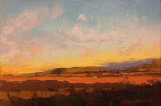 """Awesome article on color""""Fields, Last Glow"""", oil, 4 x © Mary Bentz Gilkerson Landscape Art, Landscape Paintings, Abstract Paintings, Oil Paintings, Abstract Art, Scenary Paintings, Painting Courses, Painting Tips, Painting Techniques"""