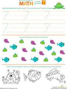 Preschool Math: All About the Number 7 Worksheet
