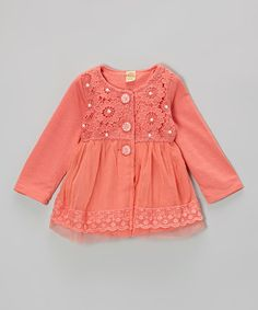 Love this Melon Pearl & Flower Lace Jacket - Toddler on #zulily! #zulilyfinds
