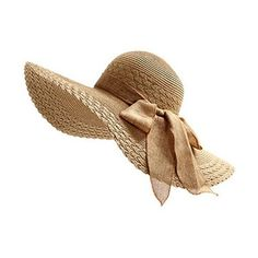 Women Large Wide Brim Floppy Beach Sun Visor Shade Straw Hat Cap ❤ liked on Polyvore featuring accessories, hats, floppy straw hat, wide brim floppy hat, sun visor, straw sun visor hat and khaki hat