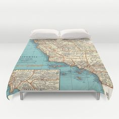 This map of Southern California Surf spots prints amazingly well on this duvet cover or comforter. (From a vintage map) How cool would it be to sleep in