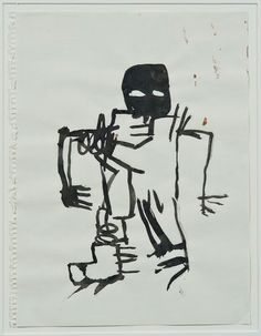 """Jean-Michel Basquiat - """"Untitled (Ink drawing)"""", 1981. Sumi ink on paper, 12 x 9 in. (30.5 x 22.9 cm). Private collection"""