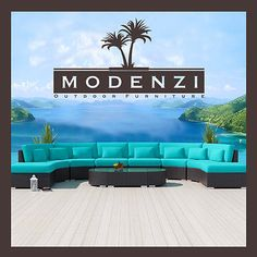 MODENZI 11C Modern Patio Wicker Set Outdoor Sectional Sofa Furniture Couch Chair