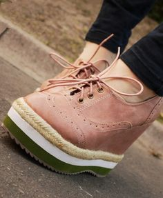 Pink Lace Up Chunky Flatform Shoes