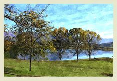 Lago+di+Canterno Golf Courses, Digital, Painting, Portion Plate, Sky, Painting Art, Paintings, Painted Canvas, Drawings
