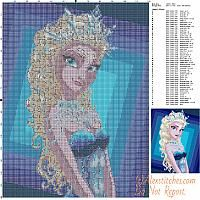 Queen Elsa Frozen free cross stitch pattern 120x160 50 colori