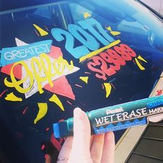 Our Chalk Wet Erase Markers can be used in all kinds of situations. These markers work excellent on windows.    Product: SMW56 & SMW26. #car #windowwriting #calligraphy #lettering #advertising