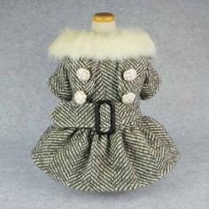Fitwarm High Quality Woolen Pet Clothes for Dog Coat Dresses Faux Furred Jackets Apparel Black