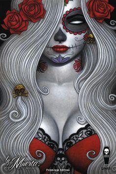 La Muerta: Sugar Skull Print-Artwork: Scott Lewis Full color print on premium glossy stock. Available SIGNED by Lady Death creator Brian Pulido as a no-cost option. Sugar Skull Mädchen, Sugar Skull Tattoos, Tribal Tattoos, Skull Candy Tattoo, Ear Tattoos, Celtic Tattoos, Sleeve Tattoos, Day Of The Dead Girl, Day Of The Dead Skull