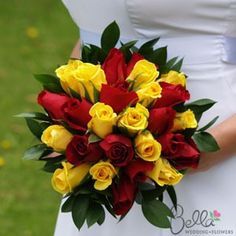 yellow and redWedding Bouquets | Red and Yellow Roses with Ruscus: Bride & Groom Collection