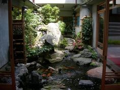 awesome  indoor garden design pictures ideas for modern house : Indoor Water Garden Design With Fish Pond Decorating With Natural Stone