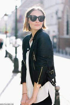 Pretty-a-Porter, Fashion Trend Style and What to Wear: Biker Jacket Mild Obsession Looks Street Style, Looks Style, Style Me, Mode Outfits, Trendy Outfits, Black And White Outfit, Black White, White Style, White Dress