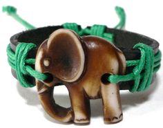 Brown Elephant Bracelet  Black Leather by JennyDuPontCreations, $7.95