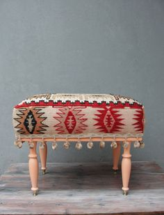 Kilim Ottoman, Kilim Pouf Bohemian Wooden Furniture Vintage Kilim Hand woven, Pompom details