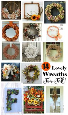 14 Lovely Wreaths For Fall ~ A collection of gorgeous wreaths perfect for the fall season. Lots of creativity, designs and a variety of materials. Lots of inspiration for you to make your own! / timewiththea
