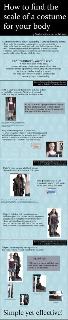 """How to find the scale of a costume for your body."" This is humorous, but it's also a good idea."