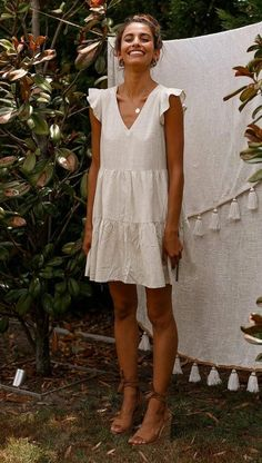 cute little white dress outfit - style - Summer Dress Outfits Short Summer Dresses, White Dress Summer, Little White Dresses, Dress Long, Linen Summer Dresses, Winter Dresses, Summer Dress Outfits, Summer Wear, Women's Summer Clothes