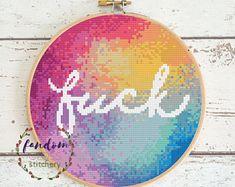 Rainbow 'Fuck' Cross Stitch PDF Pattern | Sweary Subversive Modern Cross Stitch | Geek Cross Stitch Pattern | Rainbow Cross Stitch Pattern|