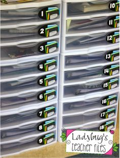 Ideas for organizing when using student tables instead of desks--- Ladybug's Teacher Files: Storage Drawers for Student Tables