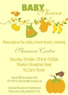 baby shower autumn theme   Autumn Themed Baby Shower Invitation 5x7 by PhotoGreetings