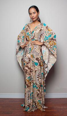 Bohemian Maxi Dress  Kimono Butterfly Boho Print Maxi by Nuichan, $59.00