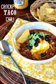 Crock Pot Taco Chili from Simply Scratch  http://recipesjust4u.com/crock-pot-taco-chili/