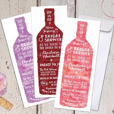 wine tasting theme bridal shower invitations free custom colors vertical envelopes included winery