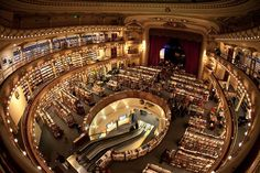 El Ateneo Grand Splendid, one of the world's most exquisite bookstores. It's a repurposed theatre in Buenos Aires, Argentina (Photo by Agnieszka i Mateusz Waligóra) Library Room, Dream Library, Library Architecture, Amazing Architecture, Library Fireplace, Beautiful World, Beautiful Places, Fantasy Castle, Source Of Inspiration