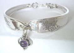Jewelry Made Out Of Silverware | ... With Amethyst Charm February birthstone -- unique silverware jewelry