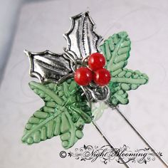 Holly Fairy Shelter Finishing Pin by NightBlooming on Etsy, $12.00