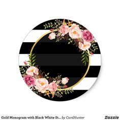 Pegatina Redonda Monograma del oro con Deco floral rayado blanco Round Gold Monogram with White Striped Floral Deco Sticker