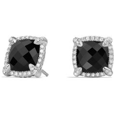 David Yurman Chatelaine Pave Bezel Stud Earrings with Black Onyx and... (1,665 CAD) ❤ liked on Polyvore featuring jewelry, earrings, diamond earrings, diamond stud earrings, david yurman jewelry, diamond jewelry and pave diamond jewelry