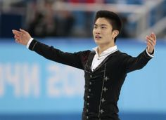 Yan Han of China competes in the men's free skate figure skating final at the Iceberg Skating Palace during the 2014 Winter Olympics, Friday...