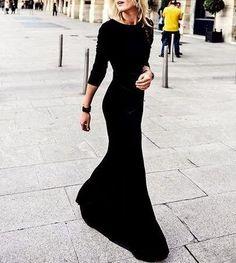 City Skylines Reversible Long Sleeve Maxi Dress - Black