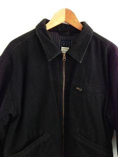 Vtg black zip chore jacket / M / French workwear heavy lined 90s winter skate £51.00