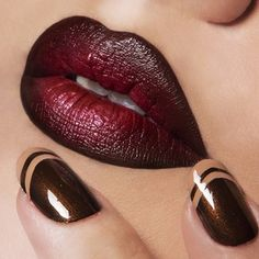 Obsessive Compulsive Cosmetics 'Vintage'  Lip Tar Matte & 'Role Play' Lip Tar Metallic, lined with 'Sybil' OCC Pencil. On Nails: 'Isherwood' & 'Covet' OCC Nail Lacquer.