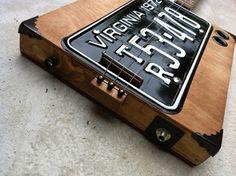 3 String Acoustic Electric License Plate Resonator Cigar Box Guitar | eBay