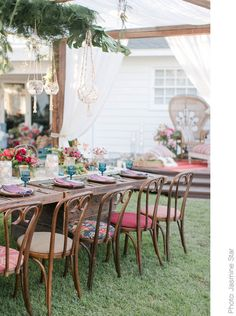 Brett Kantha Upholstered Bentwood Chairs at Found Vintage Rentals. Varying distressed bentwood chairs with seats upholstered in Kantha quilts from India. Perfect for ceremony or reception seating