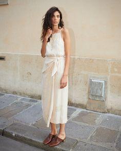 SALEM - Sarong strap dress - Creme – Nanushka