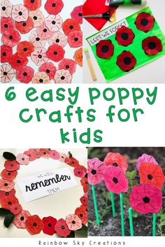 Here are 6 easy ideas to use the poppy in your classroom. Teach your students about the importance of ANZAC, Remembrance, Memorial or Veterans Day with poppy craft activities. Every idea is low prep and simple for teachers to implement in their classroom Memorial Day Activities, Remembrance Day Activities, Veterans Day Activities, Remembrance Day Poppy, Crafts For Seniors, Crafts For Kids, Diy Crafts, Children Crafts, Creative Activities