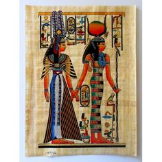 Isis and Queen Nefertari   Ancient Egyptian Artwork On Egyptian Papyrus Paper