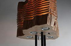 Deko aus Holz - Lampe auf Metallständer