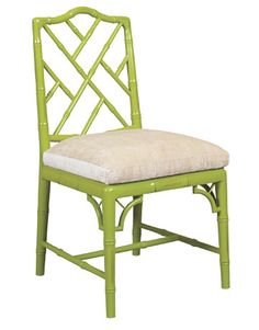 chinese chippendale chair in green.