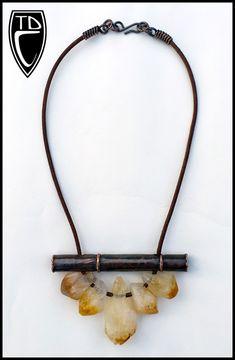 """Todd Conover """"Bamboo"""" Citrine Necklace, 2014, copper, citrine, leather"""