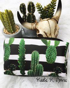The Striped Cactus Makeup Bag