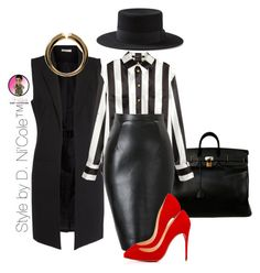 """Untitled #2905"" by stylebydnicole on Polyvore featuring Hermès, Pieces, H&M, Yves Saint Laurent, Giuseppe Zanotti and Christian Louboutin"