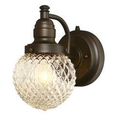 Add traditional style to your home with the Westinghouse Eddystone outdoor 1 light wall fixture. The oil rubbed bronze finish with diamond cut glass adds a sparkling touch to your outdoor space. This fi #diamond #cut #finish