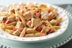 Creamy Turkey Pasta. Use non fat Parmesan and non fat whipping cream.